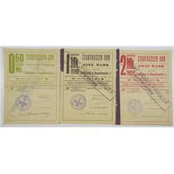 Rappoltsweiler. 1914. Stadtkasse in Rappoltsweiler i.E. Lot of 3 Issued Emergency Notgeld Notes.