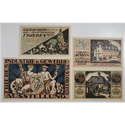 StadtGemeinde Triebes, German Notgeld, 1921 Issued Banknote Quartet