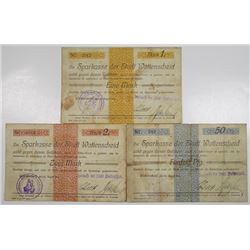 Wattenscheid. Sparkasse Der Stadt Wattenscheid, 1914. Lot of 3 Issued Notgeld Notes.