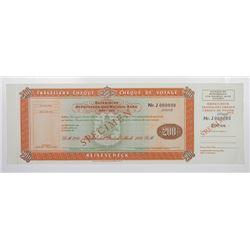 Specimen Traveler Cheque 200 Marks Bayerische Hypot. Wechsel Bank Unc
