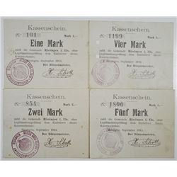 Hirsingen i. Els (Hirsingue, France today). 1914. Lot of 4 Issued Notgeld Emergency Notes.