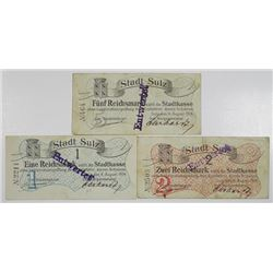 Sulz. Stadt Sulz, 1914. Lot of 3 Issued Notgeld Notes.