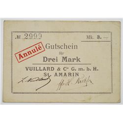 Vuillard & Cie GmbH (St. Amarin). ND (ca. 1914). Issued Emergency Notgeld Note.