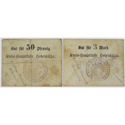 Hohensalza (Inowroc_aw, Poland today). ND (ca. 1914-19198). Lot of 2 Issued Notes.