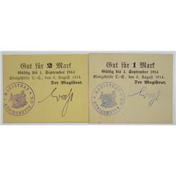 KšnigshŸtte O/S (Chorz—w, Poland today). 1914. Lot of 2 Issued Notgeld Emergency Notes.