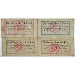 Neustadt Wpr.. 1914. Lot of 4 Issued Notgeld Emergency Notes.