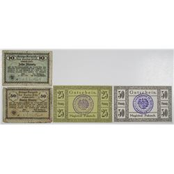 Pakosch (Pako__, Poland today) & Plšn. 1917-1918. Lot of 4 Issued Notes.