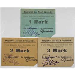 Wormditt (Orneta, Poland today). Stadt Wormditt. 1914. Lot of 3 Issued Notgeld Notes.