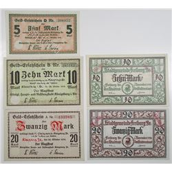 Kšnigsberg i. Pr. & Freiburg im Breisgau. 1918. Lot of 5 Issued Notgeld Notes.