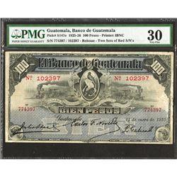 """Banco de Guatemala, 1925 """"Reissue"""" 100 Pesos Banknote."""
