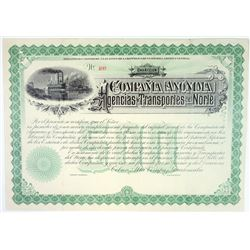 Compania Anonima Agencias y Transportes del Norte, ND ca.1880's, Remainder Stock Certificate Used as