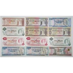 Bank of Guyana. ND (1980s-1990s). Lot of 12 Issued Notes.