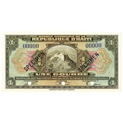 Banque Nationale de la Republique d'Haiti. ND (ca. 1950s-1960s). Specimen Note.