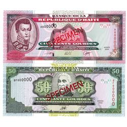 Banque de la Republique d'Haiti. 2000-2003. Lot of 2 Specimen Notes.