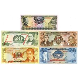 Banco Central de Honduras. 1974-1990s. Lot of 5 Specimen Notes.
