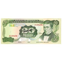 Banco Central de Honduras. ND (1978-1993). Specimen Note.
