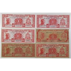 Honduras. Banco Central de Honduras. Group of 11 Issued Banknotes