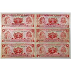 Honduras. Banco Central de Honduras. Group of 6 Issued Banknotes