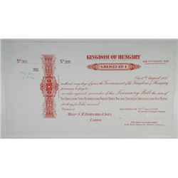 Kingdom of Hungary 1934 Specimen Treasury Bill