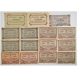Various Hungarian Issuers. 1919-1920. Lot of 15 Issued Notes.