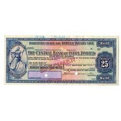 Central Bank of India, 1936 Traveler's Check Specimen.