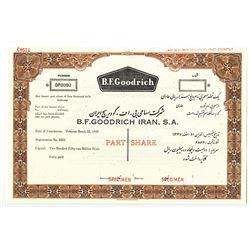 B. F. Goodrich Iran, SA. 1959. Specimen Stock Certificate.