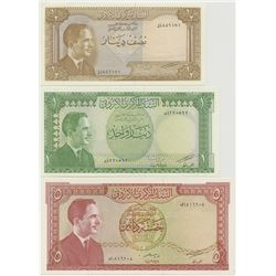 Central Bank of Jordan, ND, Second Issue, Law of 1959 High Grade, 1/2 Dinar; 1 Dinar & 5 Dinar Bankn