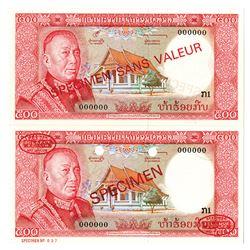 Banque Nationale du Laos. ND (1974). Lot of 2 Specimen Notes.