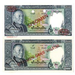 Banque Nationale du Laos. ND (1975). Lot of 2 Specimen Notes.