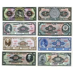Banco de Mexico. 1950-1977. Lot of 8 Specimen Notes.