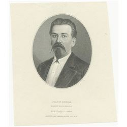 Banco de Hidalgo, 19xx (ca. 1902-14) Proof Vignette of Portrait of Juan C. Dorica