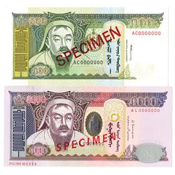 Mongol Bank. 1997-2013. Lot of 2 Specimen Notes.