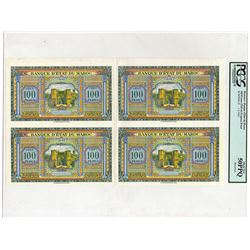 Banque d'Etat du Maroc. 1943. Uncut Block of 4 Progress Proofs.