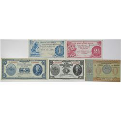 Javasche Bank & Others. 1940-1948. Lot of 5 Issued Notes.