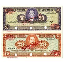 Banco Central de Nicaragua. 1968. Lot of 2 Specimen Notes.