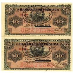 Banco de la Republica. 1912. Lot of 2 Issued Notes.