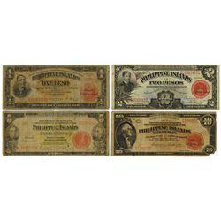 Philippine Islands, 1929 Issue Banknote Quartet.