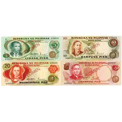 Bangko Sentral Ng Pilipinas. ND (1970s). Lot of 4 Specimen Notes.