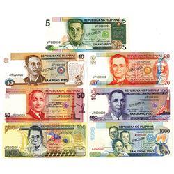 Bangko Sentral Ng Pilipinas. ND (1985-1991). Lot of 7 Specimen Notes.
