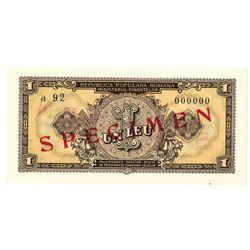 Ministerul Finantelor. 1952. Specimen Note.