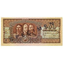 Banca Republicii Populare Romane - Banca de Stat. 1949. Specimen Note.