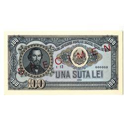 Banca Republicii Populare Romane - Banca de Stat. 1952. Specimen Note.