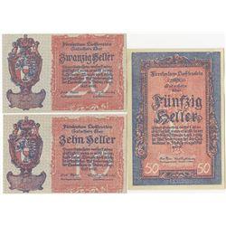 Duchy of Liechtenstein Credit Notes, 1920 Issue Trio.