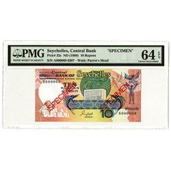 Seychelles. Central Bank of Seychelles, 1989 Specimen Banknote