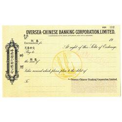 Oversea-Chinese Banking Corp., Ltd., 1932 Waterlow & Sons, Specimen Sola of Exchange Draft.