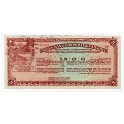 Swiss Bank Corporation London, 1927 Specimen Traveler's Check.