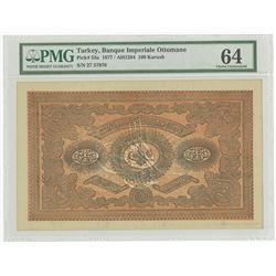 """Banque Imperiale Ottomane, 1877 / AH1294, """"Kaime"""" Issue High Grade Banknote and One of Two Sequentia"""