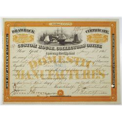Custom House, Collectors' Office 1868 I/C Drawback Certificate