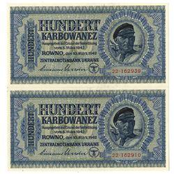 Zentralnotenbank Ukraine. 1942. Lot of 2 Issued Notes.