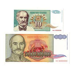 Narodna Banka Jugoslavije. 1993-1994. Lot of 2 Specimen Notes.
